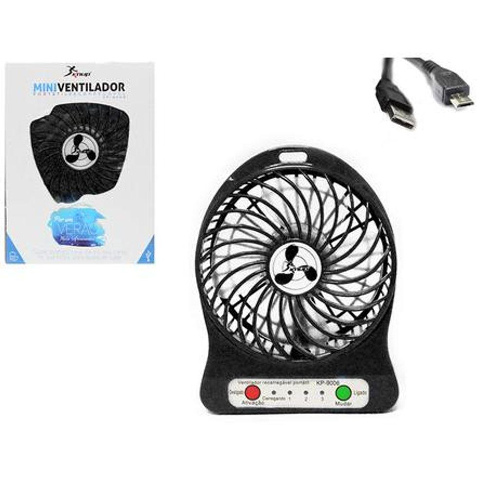 Mini-Ventilador-Portatil-Recarregavel-4-Helices-5V-Preto-KP-9006