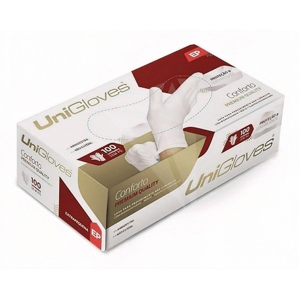 Caixa de Luva Premium Conforto Branca Sem Po Tamanho P Da Unigloves