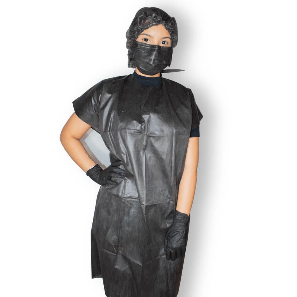 Combo Avental + Mascara + Luva Pretos da Protdesc Versao Corpo