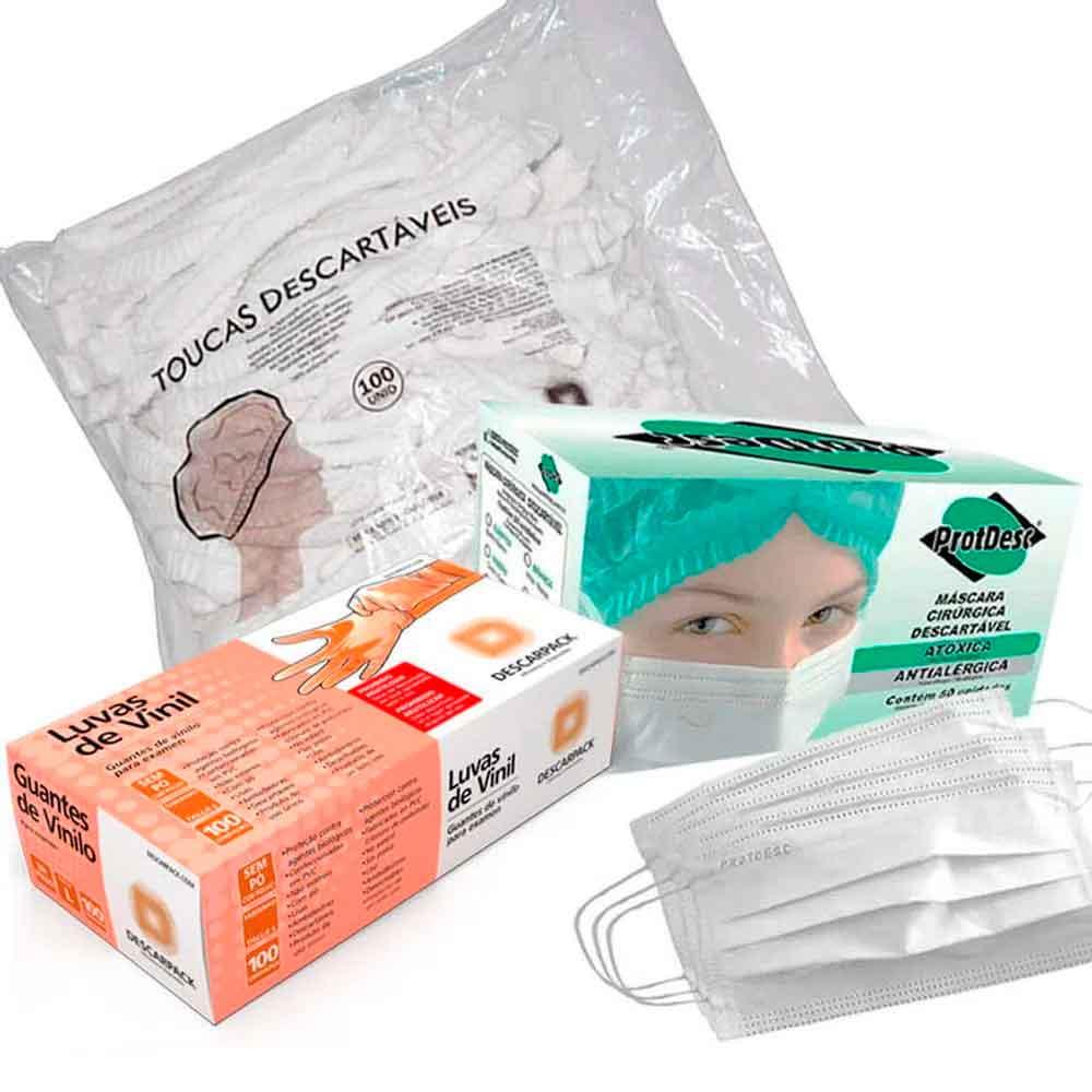 Embalagem Do Combo Mascara + Touca + Luva Brancas